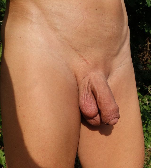 uncut asshole shaved Outdoor