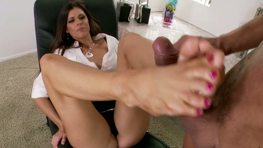 Sexy lingerie footjob double blowjob