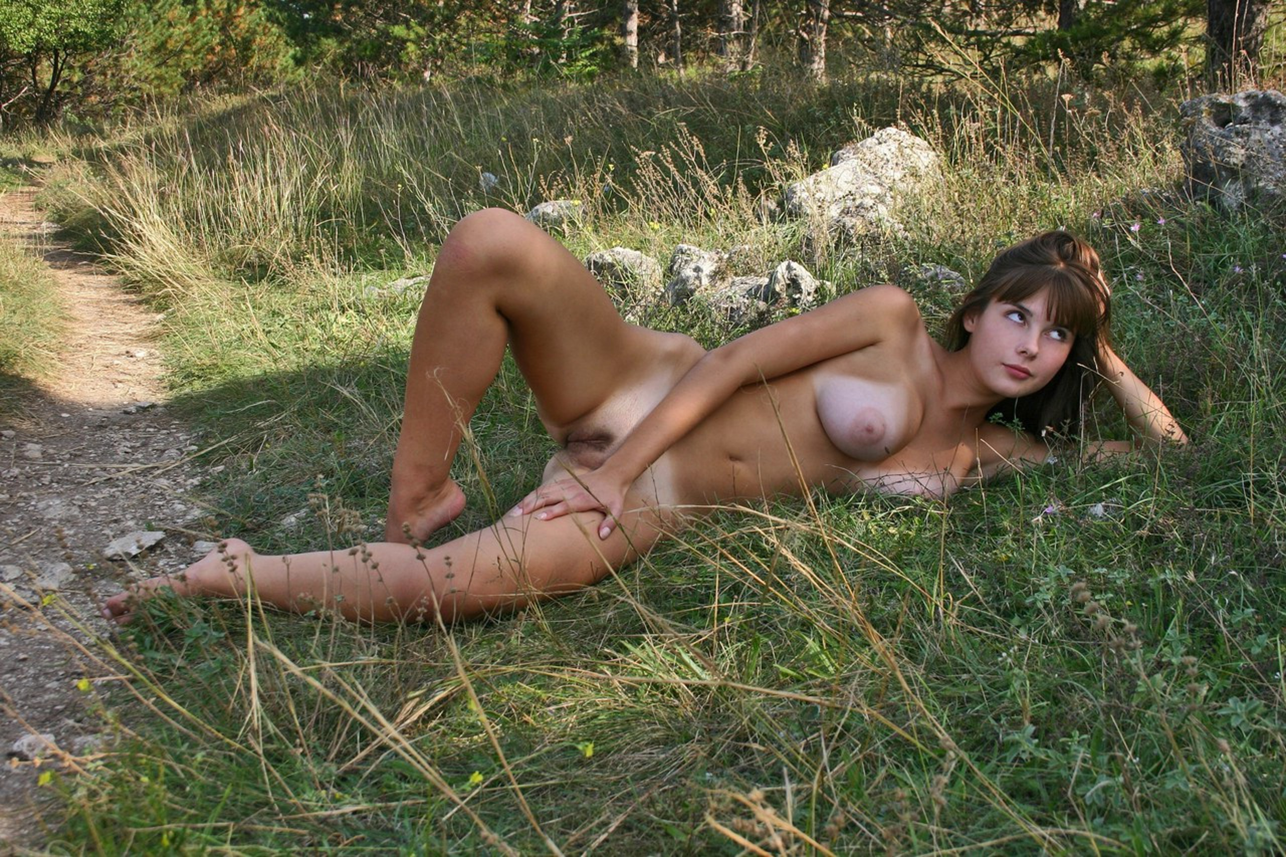 young Big couple tits outdoor