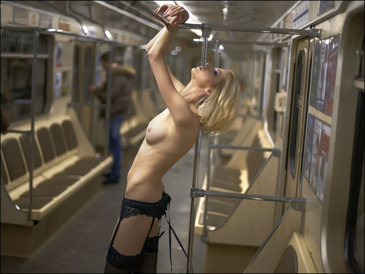 brunette Nude girl subway