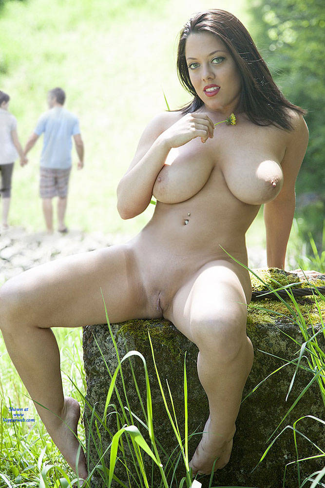 brunette upskirt Outdoor big boobs
